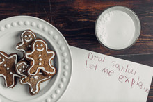 Gingerbread Cookies On A Plate And A Message For Santa