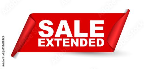 Photo  red vector banner sale extended