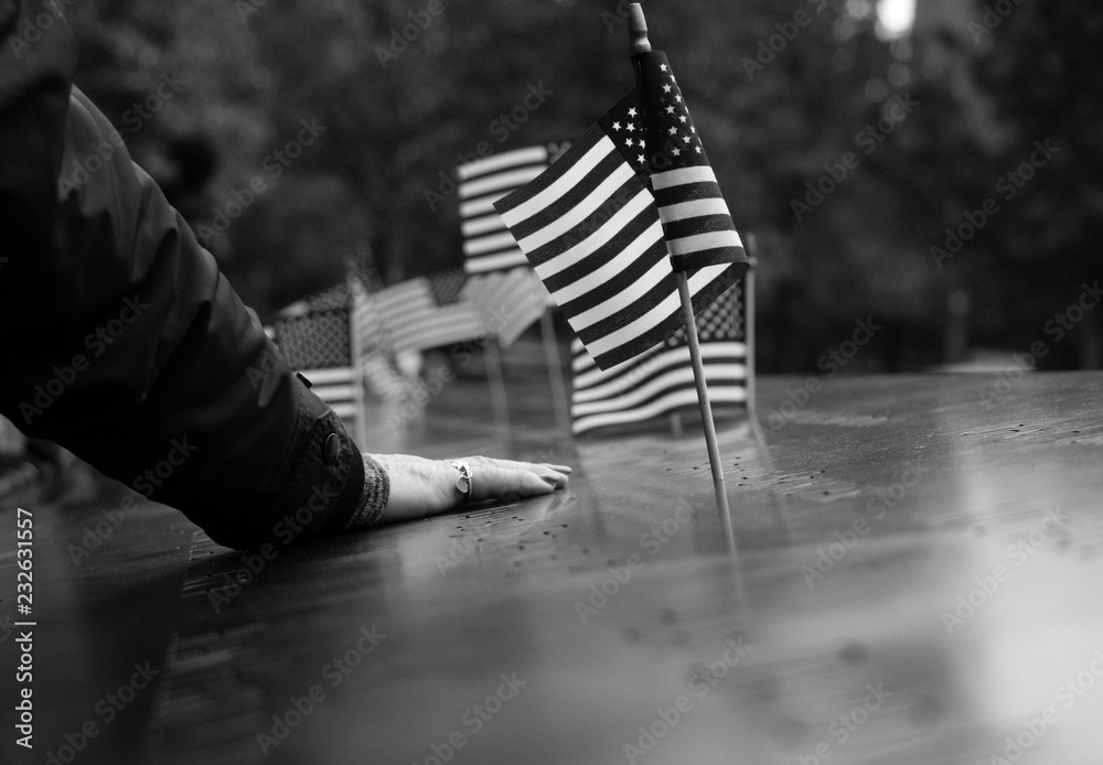 Fototapeta woman with american flag