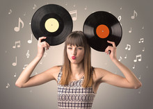 Young Lady Holding Vinyl Recor...