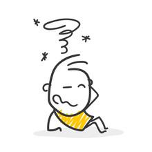 Strichfiguren / Strichmännchen: Verwirrt, Kopfschmerzen. (Nr. 326)