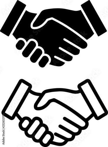 Fototapeta Handshake or contract agreement flat vector icon obraz