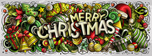 Merry Christmas Doodles Illustration. New Year Objects And Elements Design