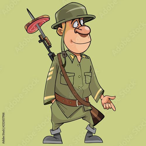 Fotografie, Obraz cartoon funny soldier with a rifle with a bayonet