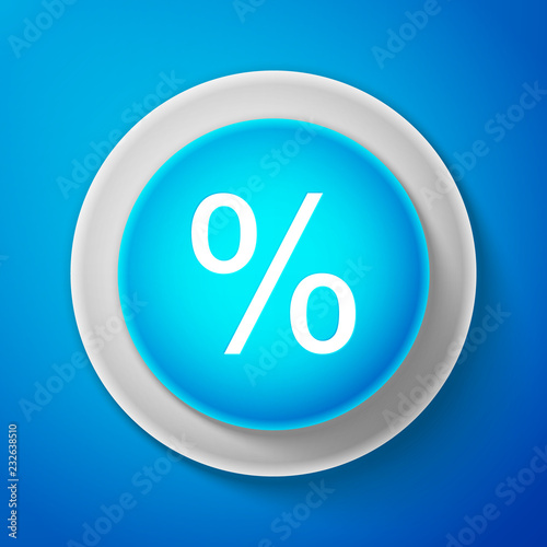 Fotografía  White Percent symbol discount icon isolated on blue background