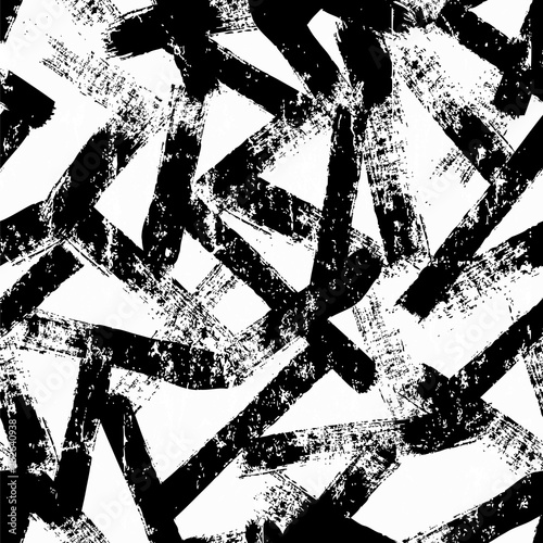 grungeseamless background pattern, with paint brush strokes black and white