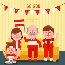 Happy Family Cheering Sport With National Flag : Austria : Vector Illustration