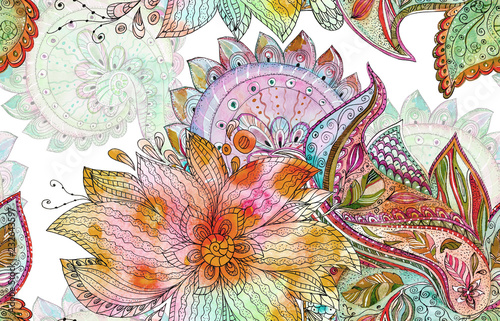 seamless batik pattern with fancy blossoms. watercolor painting Wallpaper Mural