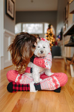 Beautiful Woman In A Holiday Pajamas Snuggling With Her Small White Dog