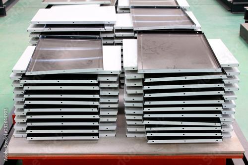 Fotografie, Obraz  stainless steel enamel on worktable