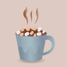 Colorful Poster With Blue Mug Of Hot Chocolate, Marshmallow