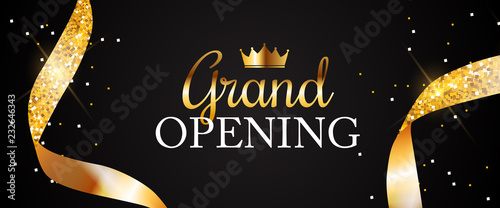 Fotografia Grand Opening Card with Golden Ribbon Background