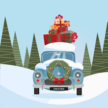 Flat Vector Cartoon Illustration Of Retro Car With Present On The Roof. Little Classic Red Car Carrying Gift Boxes On Its Rack. Vehicle's Front Decorated With Wreath. Snow-covered Landscape With Firs