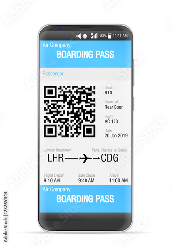 Boarding pass mobile Fototapet