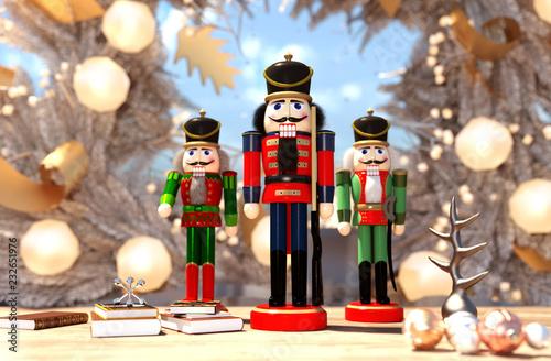 Fotografía  nutcracker decorated for Christmas background,3d rendering