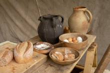 Medieval Jugs And Bowls Full O...