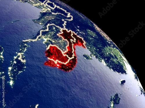 Foto  Indochina at night from orbit