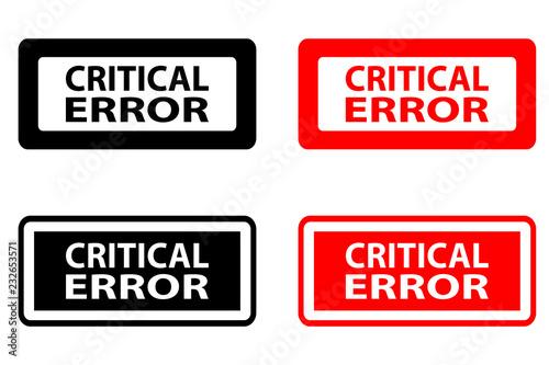 Fotografía  Critical error  - rubber stamp - vector - black and red