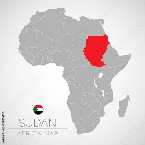 Map of Africa with the identication of Sudan. Map of Sudan. Political map of Africa in gray color. Africa countries. Vector stock.