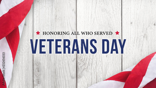 Cuadros en Lienzo  Veterans Day Text Banner Sign - Honoring All Who Served, Illustration