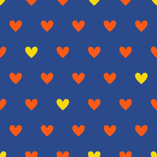 Red And Yellow Hearts On Blue Background Seamless Vector Pattern. Minimalist Print For Valentine Day