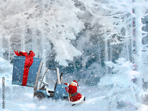 Foto auf Gartenposter Antarktika Christmas card with the image of Santa Claus.