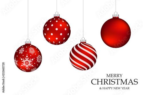 Obraz Red Christmas Ball on the White Blackground - fototapety do salonu