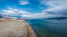 Aerial View Of Mongolia Landscape With Steppe, Mountains And A Beautiful Blue Lake