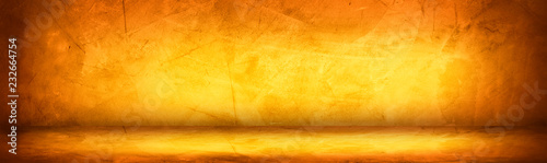 Photo  Horizontal yellow and orange grunge texture cement or concrete wall banner, blan