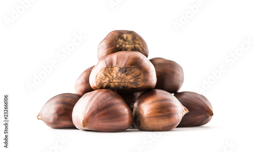 Chestnuts isolated on white background and studio shot