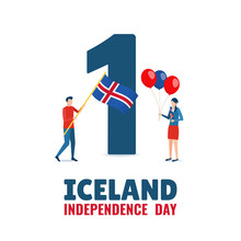 Vector Illustration On The Theme Independence Day Of Iceland.
