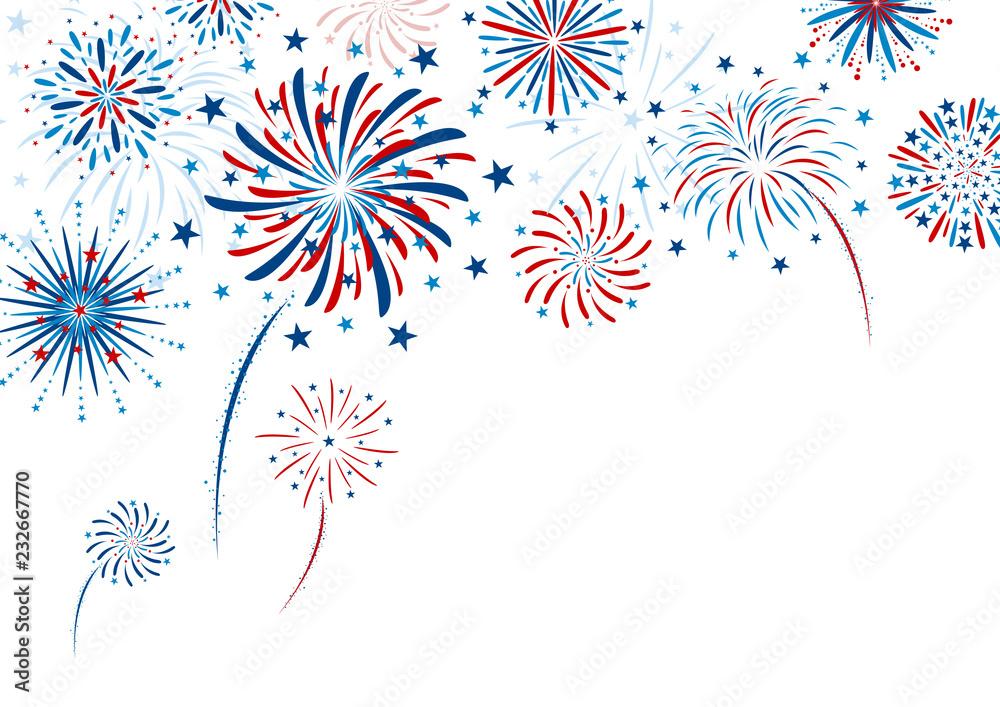 Fototapety, obrazy: Fireworks design on white background vector illustration