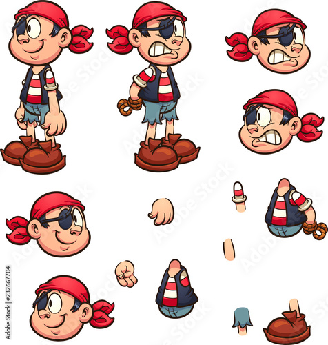 Fotografija  Cartoon pirate boy with separate parts ready for animation