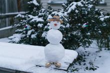 Children's Snowman In A Garden...