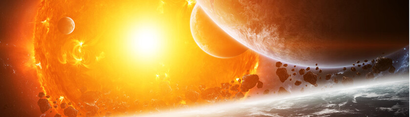 Fototapeta Exploding sun in space close to planet 3D rendering elements of this image furnished by NASA