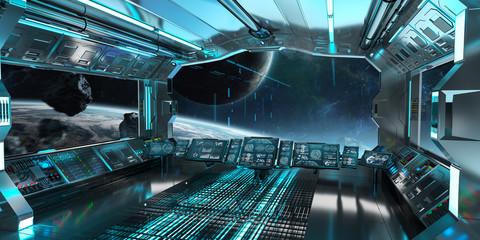 Fototapeta Blue spaceship interior control panel station 3D rendering