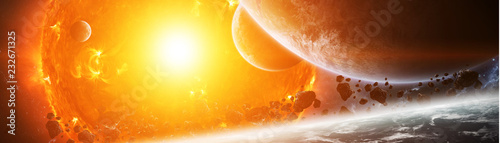 Photo Exploding sun in space close to planet 3D rendering elements of this image furni