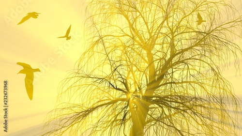 Fotobehang Zwavel geel Lonely tree without leaves in fog or mist lit by bright orange sun god rays and flying seagulls birds. 3d illustration. Travel and camping concept