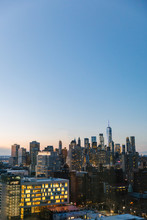 Sunset View Of New York City Skyline From Above