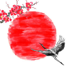 Japanese Crane Bird  Flying To...