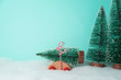 Christmas holiday background with pine tree on toy car