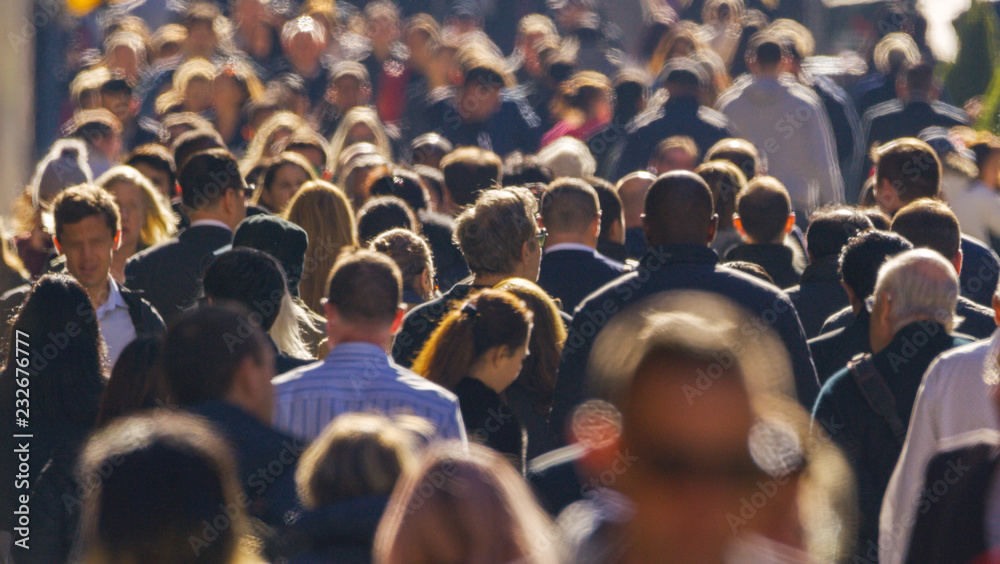 Fototapety, obrazy: Crowd of people walking street