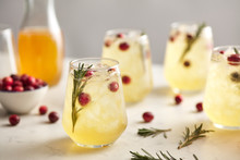 Soft Kombucha Drinks With Cranberry And Rosemary.