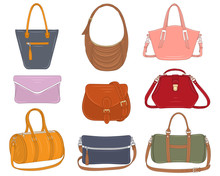 Women Fashion Handbags Collection, Vector Illustration. Different Types Of Stylish Bags, Satchel, Saddle, Hobo, Doctor, Clutch, Duffel, Tote,barrel Isolated On A White Background.