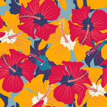 Retro Floral Pattern With Hibi...