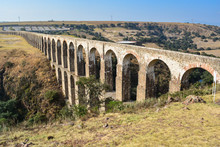 Spanish Aqueduct At Tepotzotlan In The State Of Mexico