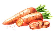 Fresh Carrot With Cut Pieces. ...