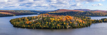 Fall Foliage Vista Of The Superior National Forest. View On Caribou Lake, North Shore Of Lake Superior, Minnesota.
