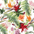 canvas print picture - Seamless floral pattern with tropical flowers, watercolor.