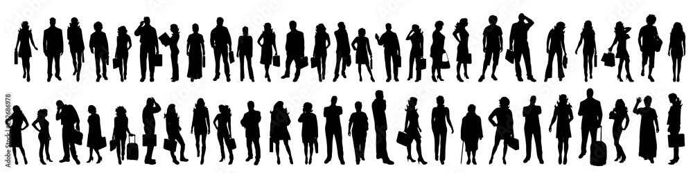 Fototapeta Vector silhouette of set of people.
